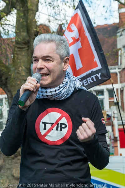 John Hilary of War on Want makes his points forcerfully at the Day of Dissent rally against TTIP on Shepherds Bush Common.