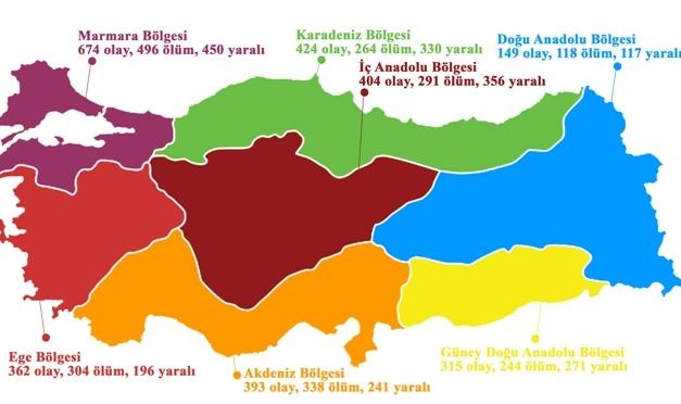 Türkiye'nin 2016 şiddet (cinayet) haritası…